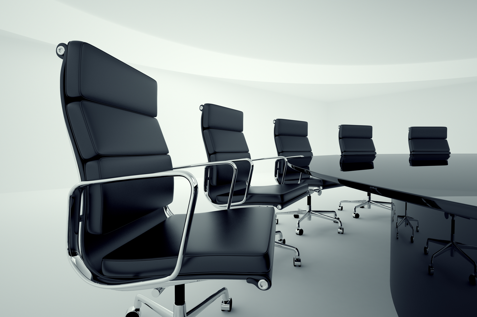 View on office chairs in a board room.